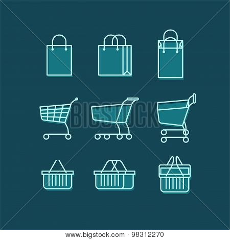Line web icons set - shopping bag, shopping cart, shopping basket.