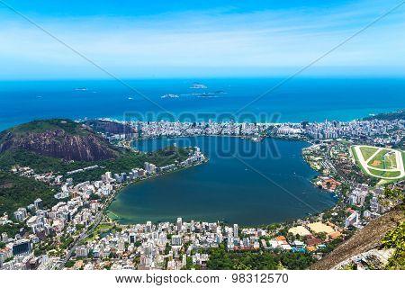 Aerial view of Rio de Janeiro, Brazil (The lagoon and the Atlantic Ocean)