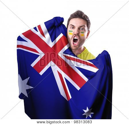 Fan holding the flag of Australia on white background