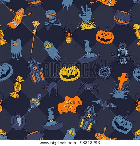 Happy Halloween retro styled doodle creative seamless pattern with various elements of holiday on dark blue background. Vector illustration.