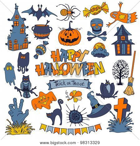 Happy Halloween icons set with various elements of holiday isolated on white background. Vector illustration.