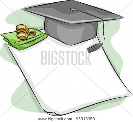 Illustration of a Graduation Cap Sitting on Top of a Loan Contract