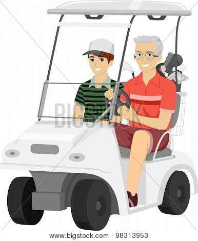 Illustration of an Elderly Man Taking His Grandson for a Ride in a Golf Cart