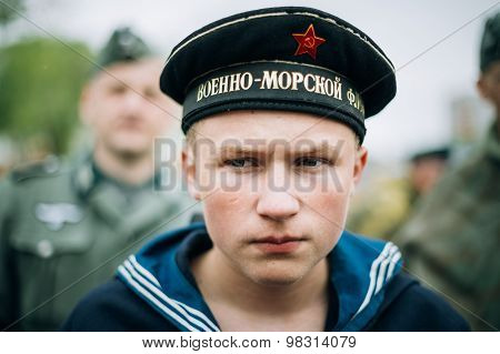 Unidentified re-enactor dressed as Soviet sailor during events d