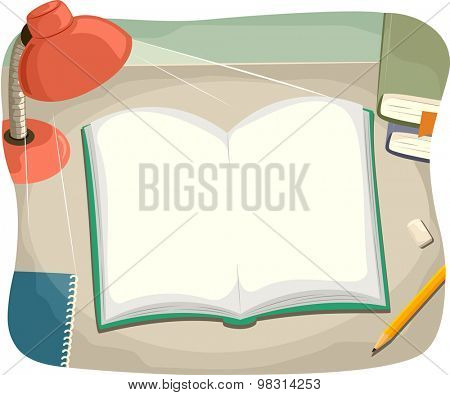 Illustration of a Study Table with an Open Book on Top