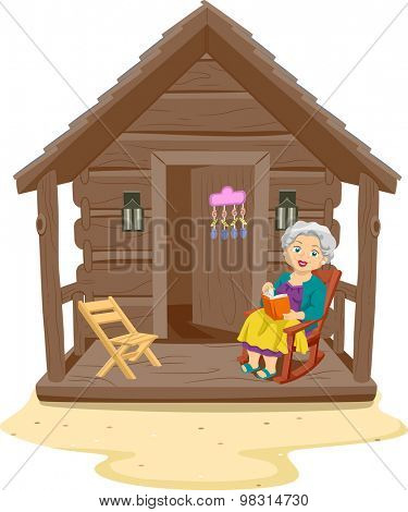 Illustration of an Elderly Woman Reading a Book in the Porch of Her Log Cabin