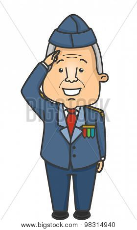 Illustration of an Elderly Veteran Doing a Salute