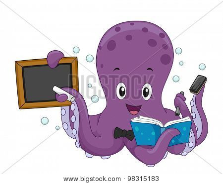 Illustration of an Octopus Writing on a Board While Reading a Book