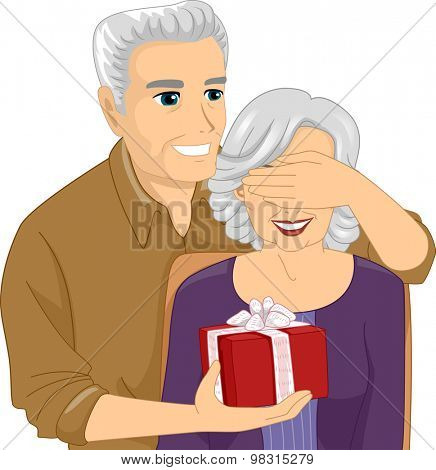 Illustration of an Elderly Man Surprising an Elderly Woman with a Gift