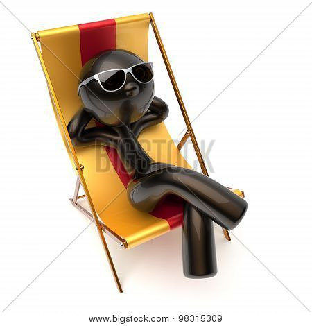 Man Chilling Relaxing Beach Deck Chair Carefree Sunburn Rest