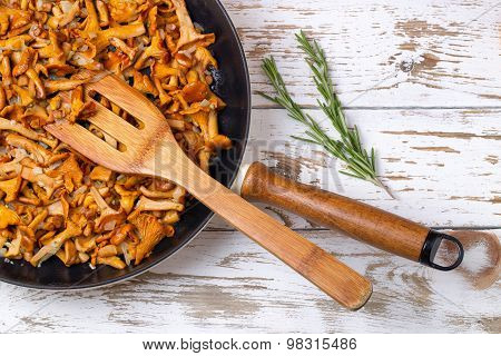 Frying Pan With Fried Chanterelles And Onions