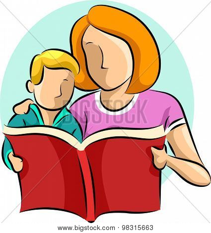 Illustration of a Mother Reading a Book to Her Son