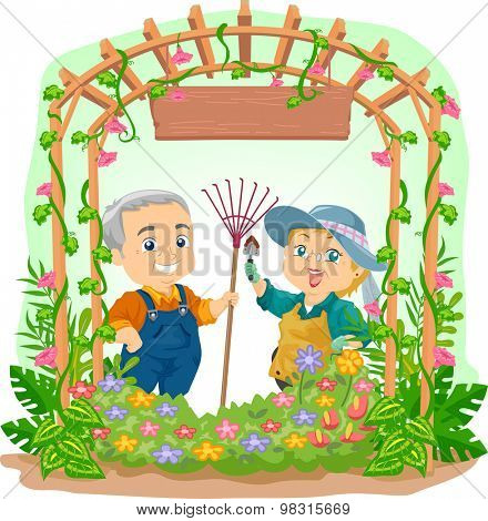 Illustration of an Elderly Couple Tending to Their Garden