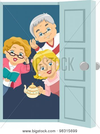 Illustration of Seniors Welcoming Guests to a House Party