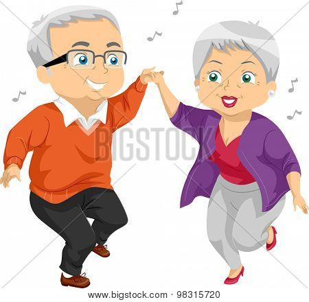 Illustration of an Elderly Couple Dancing at a Party