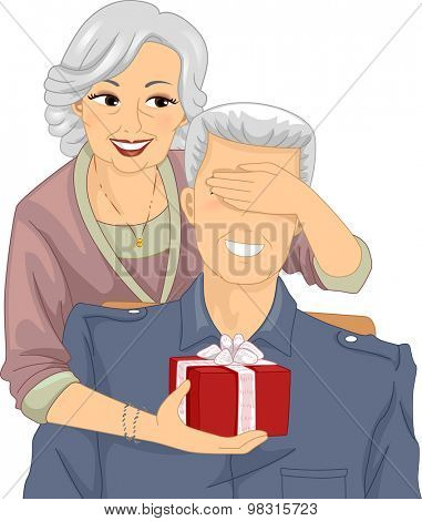Illustration of an Elderly Woman Surprising an Elderly Man with a Gift