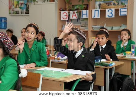 Ashgabad, Turkmenistan - November 4, 2014. Group Of Students In Lesson In The Classroom .