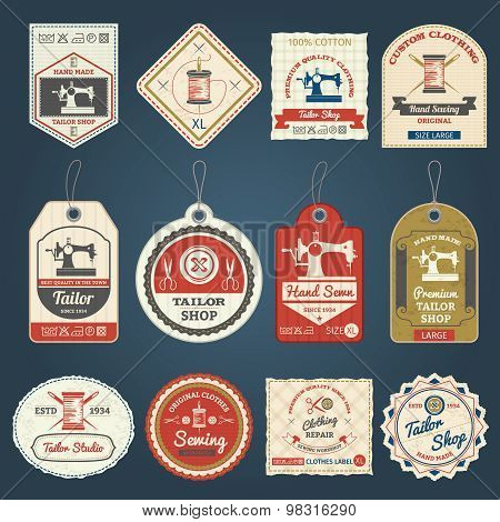 Tailor shop badges labels icons set