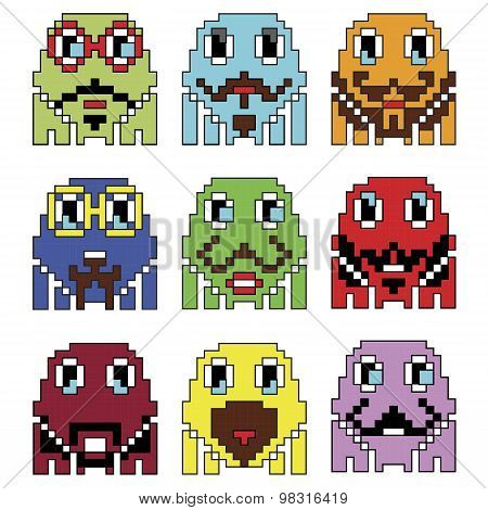 Pixelated robot Hipster 2 emoticons  inspired  by 90's vintage video computer  games showing vary em