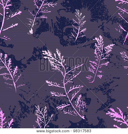 Seamless imprints pattern of the branched herbs.