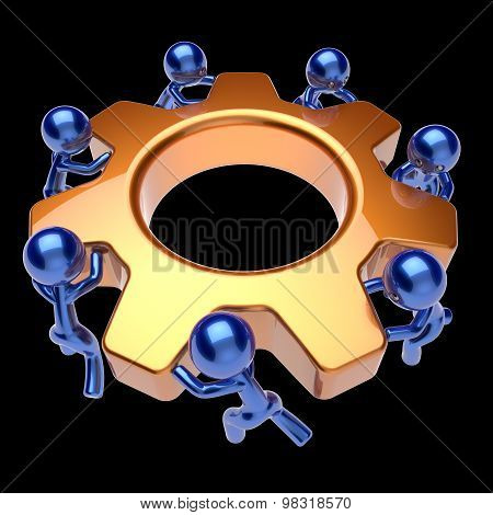Teamwork Business Process Team Work Men Turning Gear Wheel