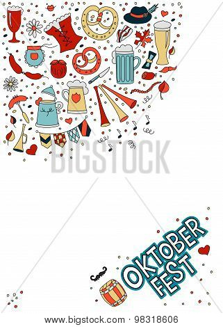 White Template In Doodle Style For Beer Festival