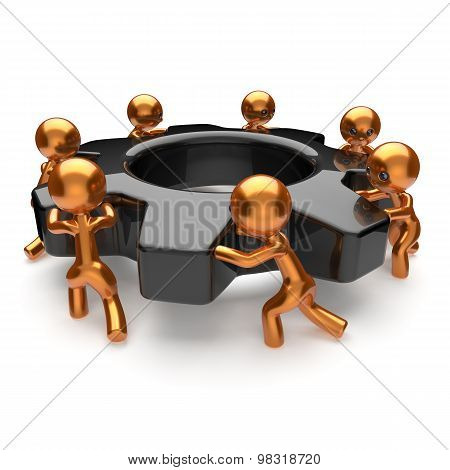 Teamwork Gearwheel Cogwheel Business Process Team Work