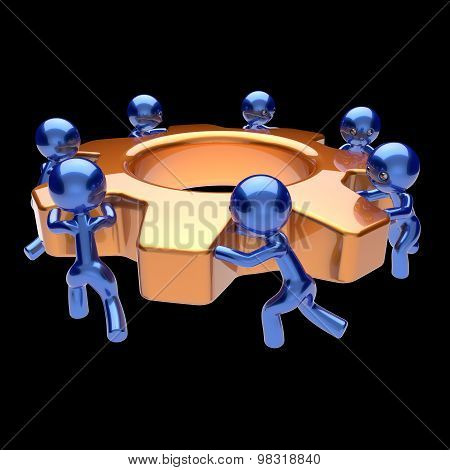 Teamwork Cogwheel Business Process Team Work Men Workers