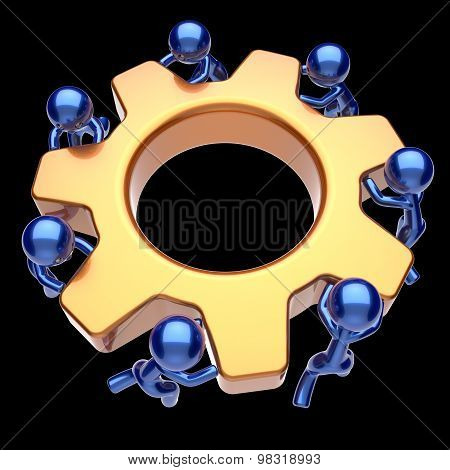 Men Characters Teamwork Gear Wheel Cogwheel Business Icon