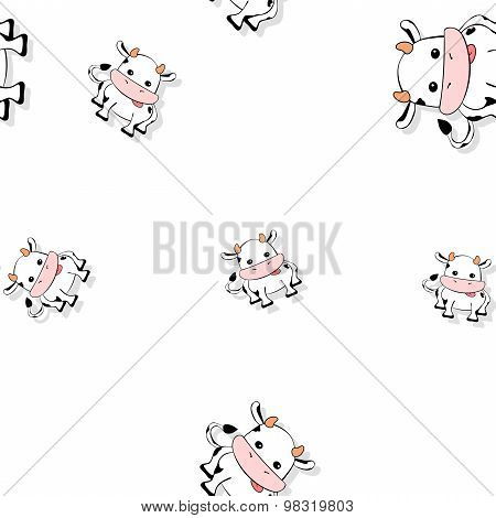 Seamless Cartoon Cow Pattern With Drop Shadow On White
