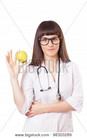 Woman In A White Lab Coat With Apple