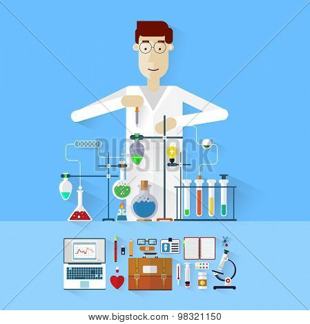 Scientist at work. Laboratory workplace concept. Science and technology