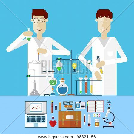 Scientists at work. Laboratory workplace concept. Science and technology development