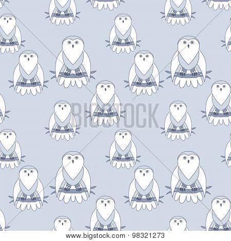 Cute owl seamless pattern.