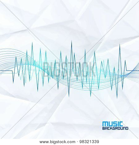 Sound Wave On Paper Background. Abstract Equalizer