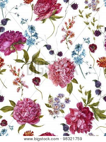 Watercolor Seamless Pattern with Burgundy Peonies in Vintage Style