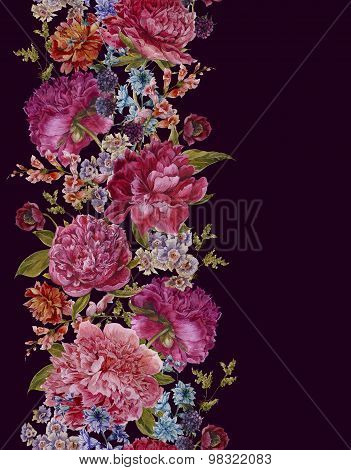 Floral Seamless Watercolor Border with Burgundy Peonies