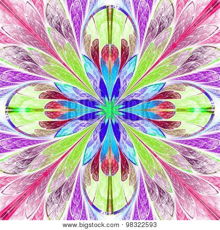Multicolored Symmetrical Fractal Flower In Stained-glass Window Style.
