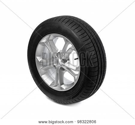 Car Wheel Isolated On White. Tire