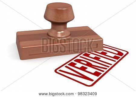 Wooden Stamp Verified With Red Text
