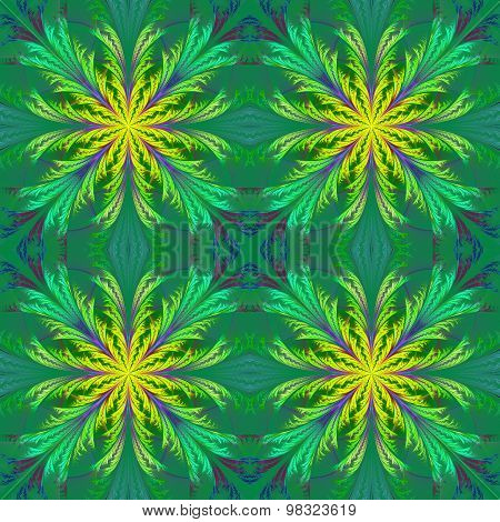 Beautiful Pattern From Fractal Flowers. Yellow And Green Palette. Collection - Frosty Pattern.