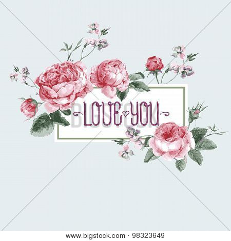 Vintage Watercolor Greeting Card with Blooming English Roses