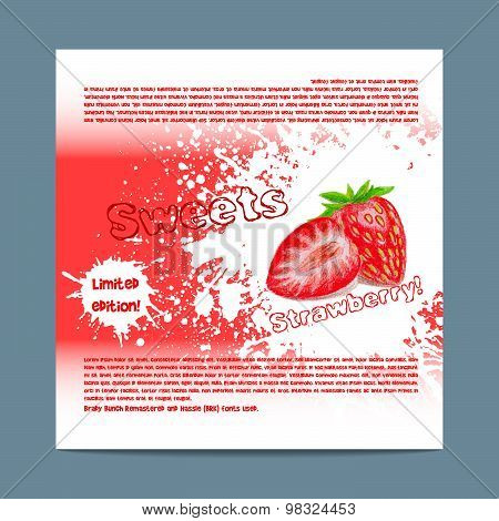 Template candy packaging. Strawberry sweets.