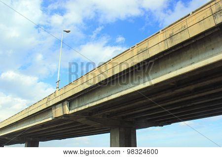 Elevated Bridge With Single Street Light