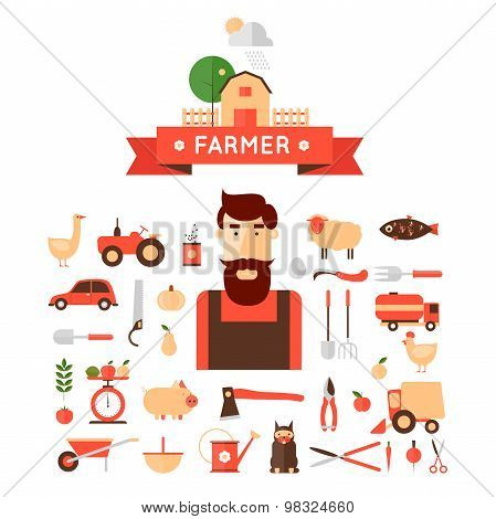 Farmer and set of icons.