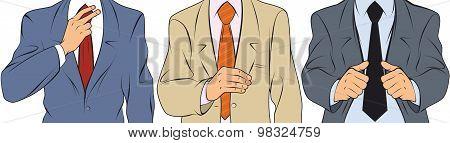 Businessman Straightens Jacket
