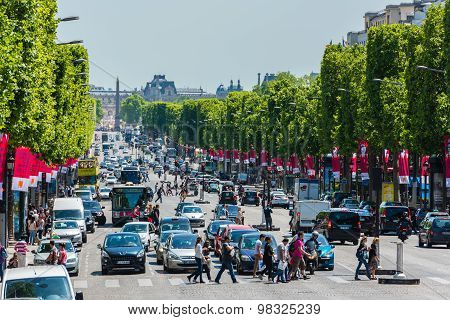 View Of The Champs Elysees Avenue In Paris