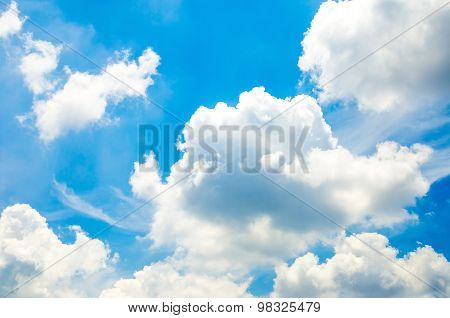 Blue Sky With Cloud And Ray Light