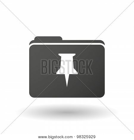 Isolated Folder Icon With A Push Pin