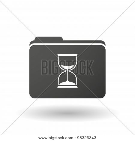 Isolated Folder Icon With A Sand Clock